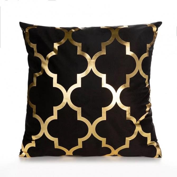 Gold Black Cushion Cover