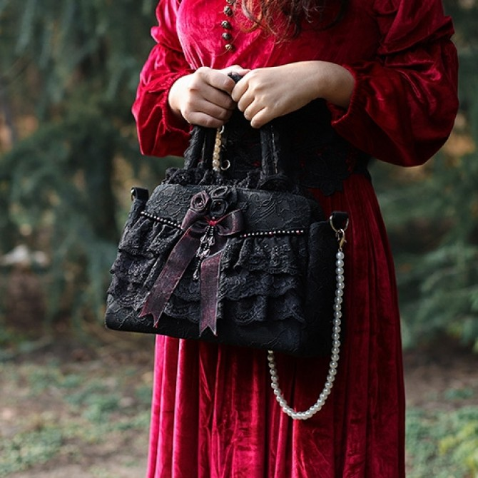 Black Lace Ruffled Bag
