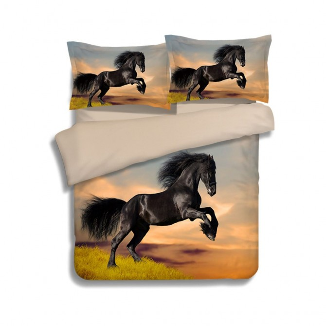 Black Stallion Horse Duvet Cover Set