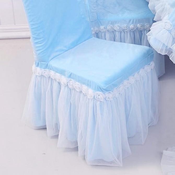 Blue Ruffle Chair Cover