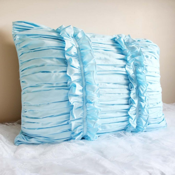 Blue Ruched Pillow Sham
