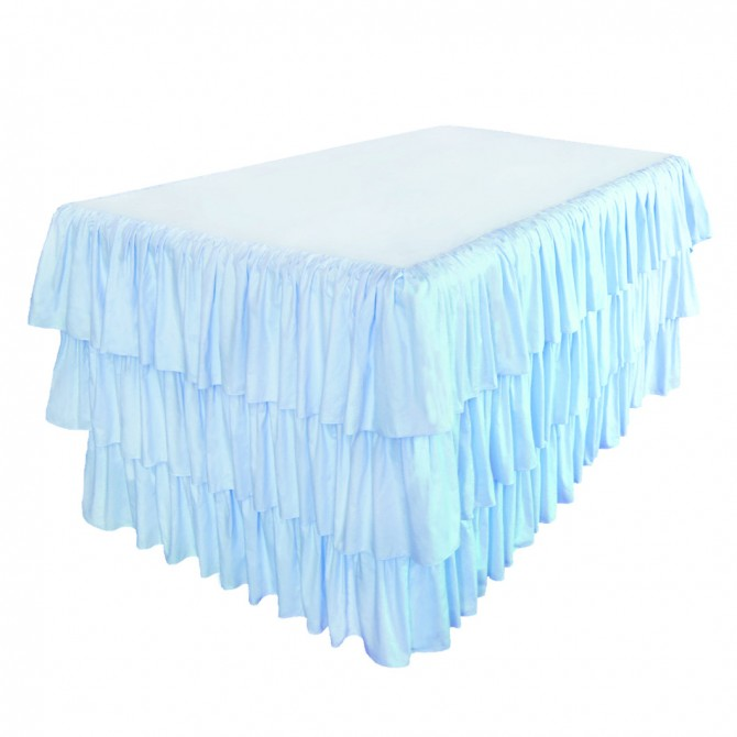 Blue Ruffled Fitted Tablecloth