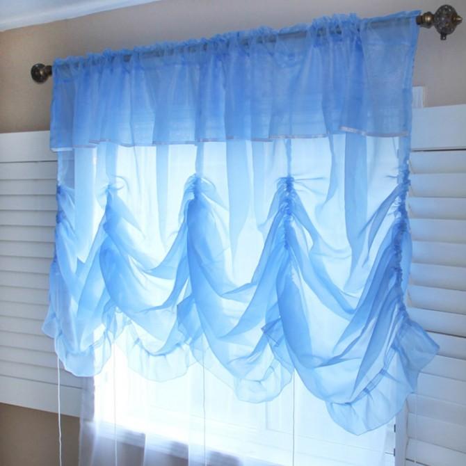 Princess Blue Sheer Balloon Curtain Shade