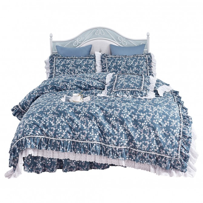 Elegant Mini Floral Blue Ruffle Lace Duvet Cover Set