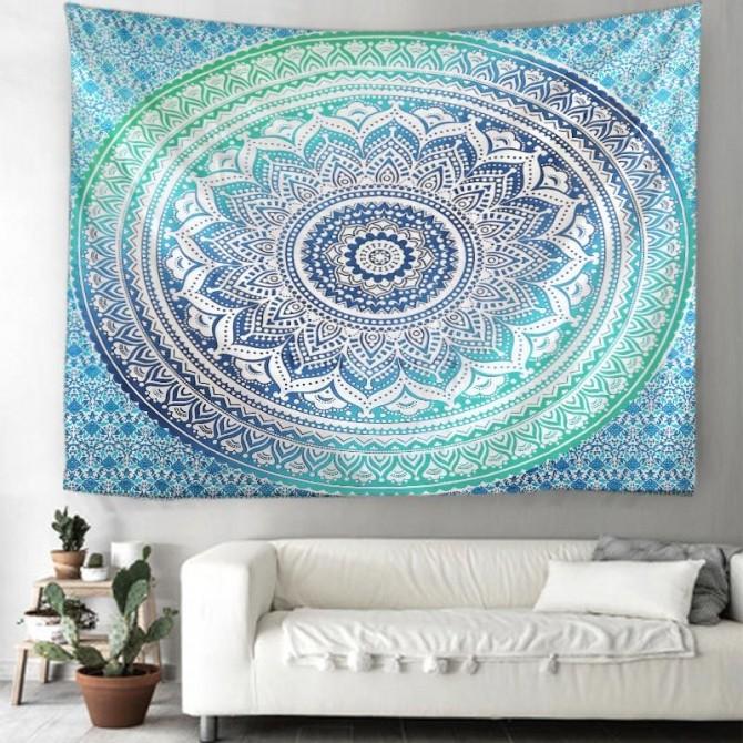 Blue Green Gradient Mandala Lotus Flower Fantasy Bohemian Psychedelic Wall Art Tapestry
