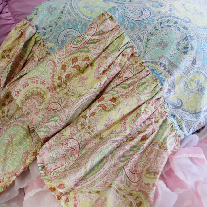 Mermaid Long Ruffle Pillowcase- Paisley