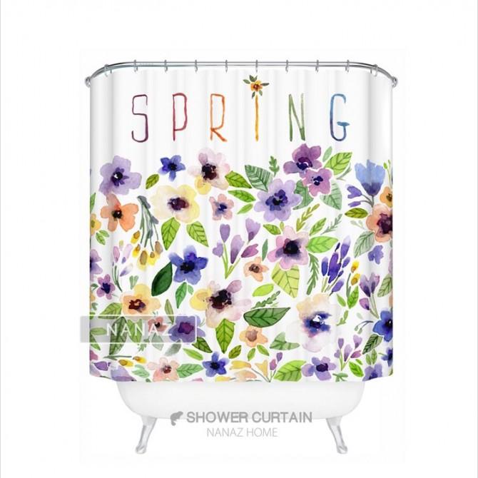 Purple Pansies Spring Shower Curtain