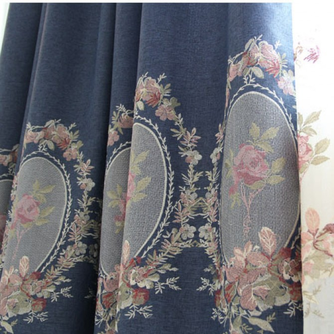 Royal French Rose Blue Curtain