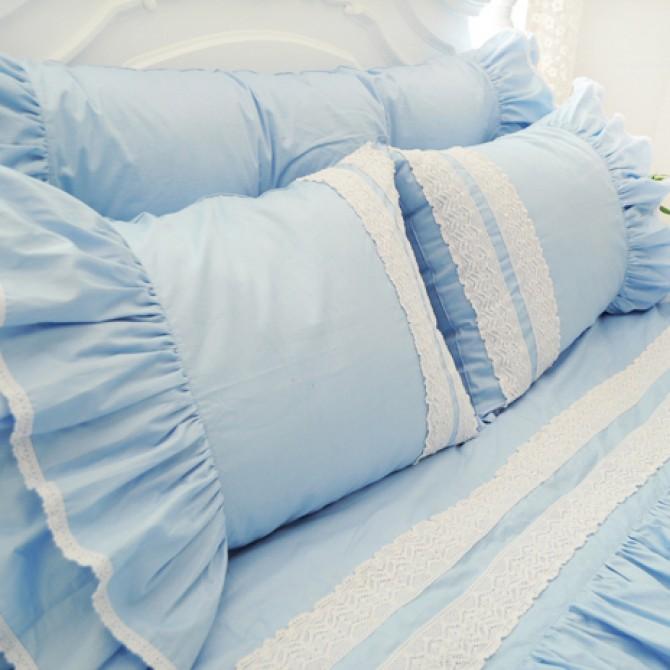 Light Blue Ruffle Duvet Cover Set