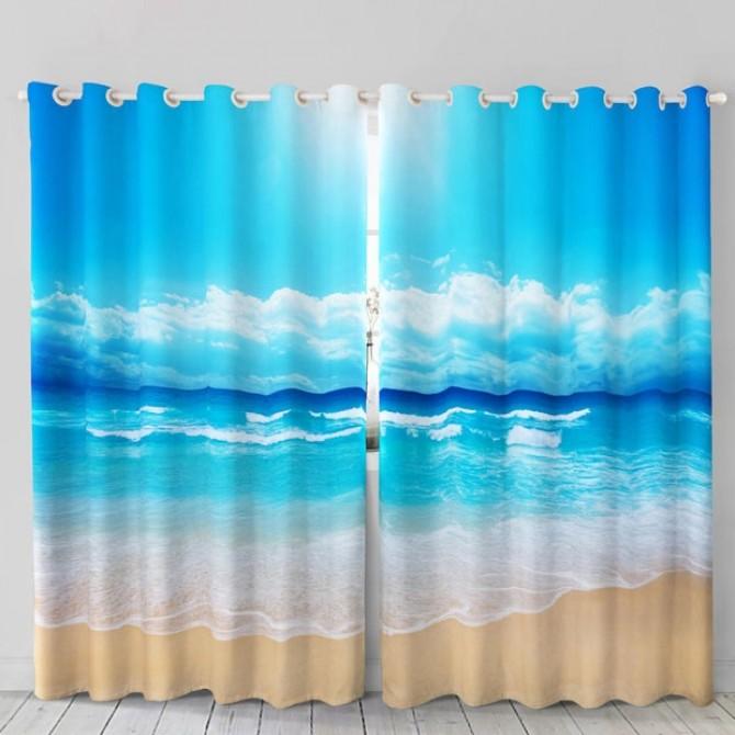 Ocean Sand Beach Curtain Set