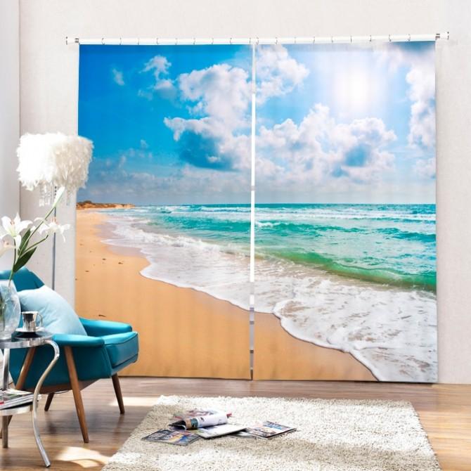 Blue Sky Ocean Sand Beach Blackout Curtain Set