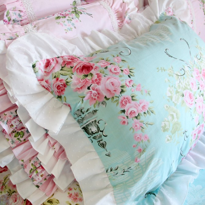Polka Dot Lace Blue Pillow Sham