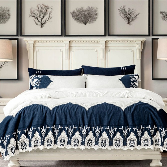 Blue White Lace Linen Duvet Cover Set