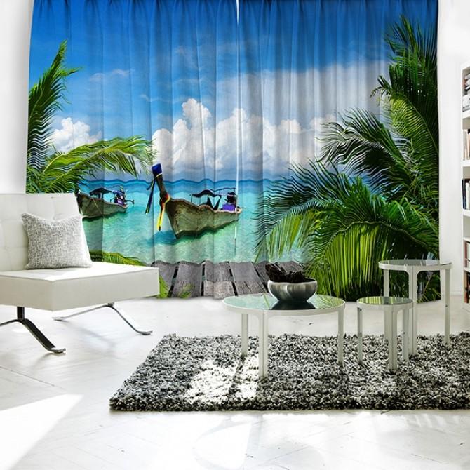 Ocean Boat Relax Theme Curtain Set