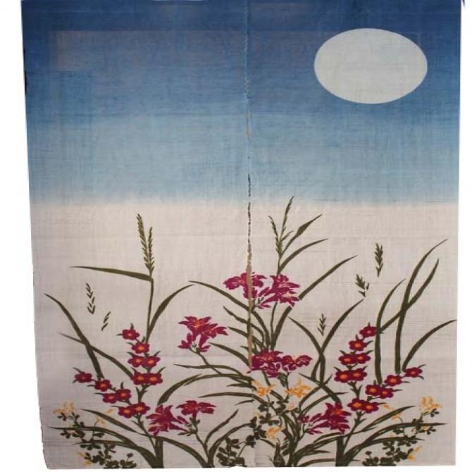 Botanical Blue Moonlight Noren Door Curtain