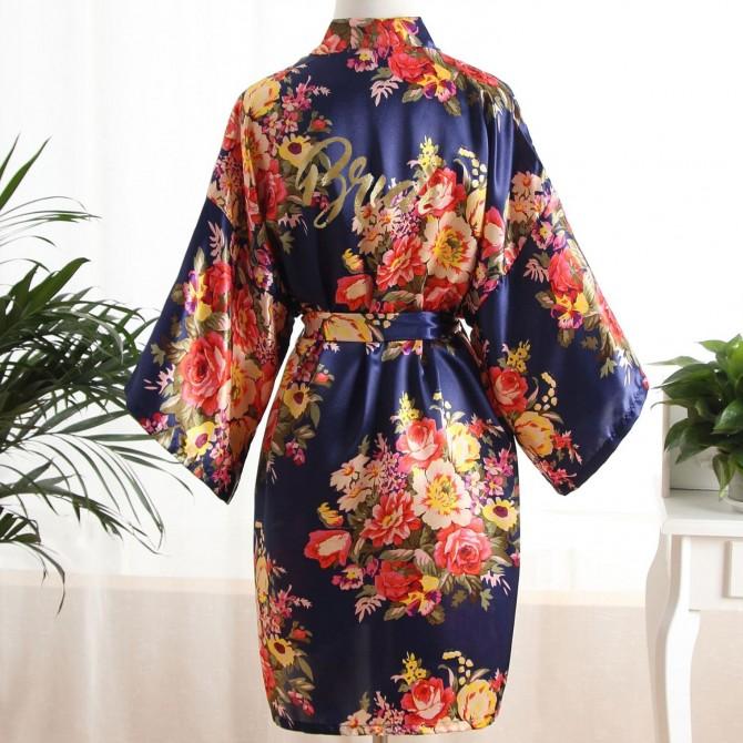 Bride's Floral Kimono Satin Robe