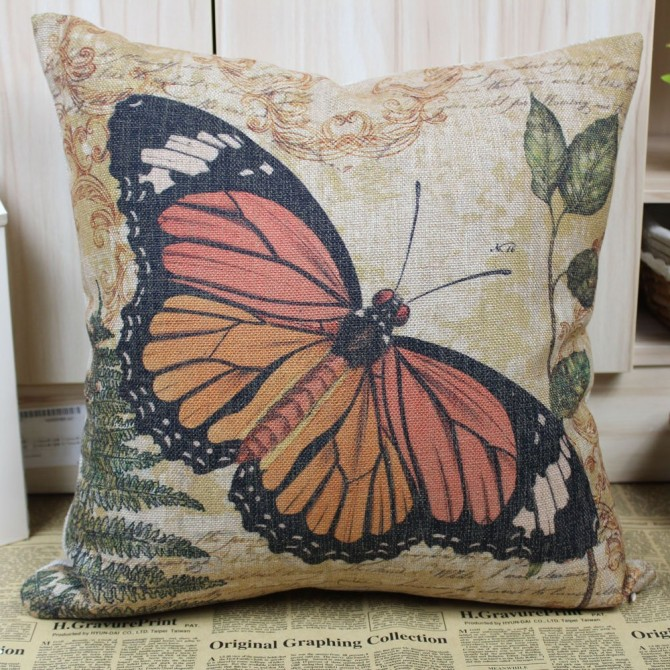 Orange Butterfly Cushion Cover