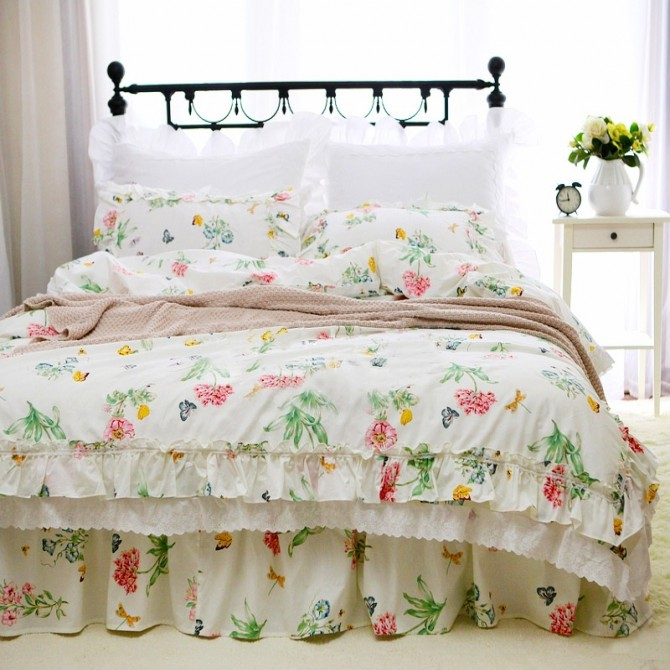 Butterfly Double Ruffle Duvet Cover