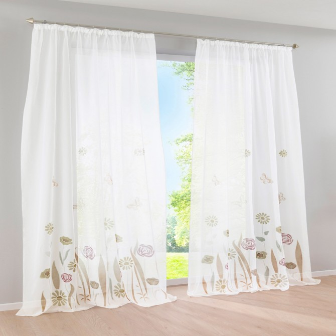 Butterfly Garden Curtain Set-Brown