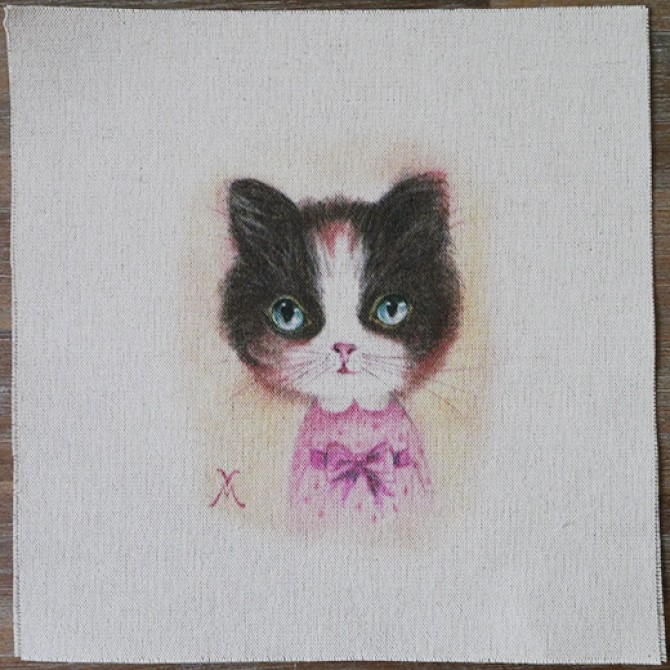Handmade Cat Print Fabric