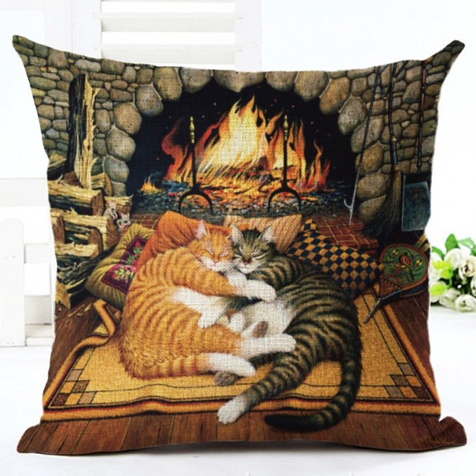 Cats Fireplace Cushion Cover