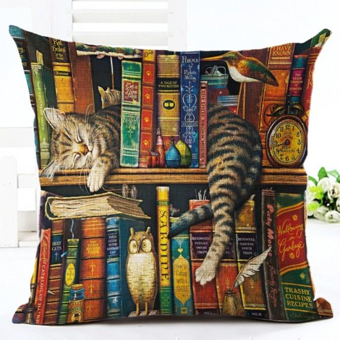 Cute Cat on Book Shelf Cushion Cover