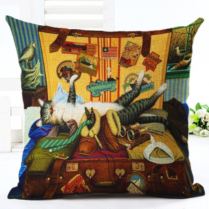 Cats in Suitcase Cushion Cover