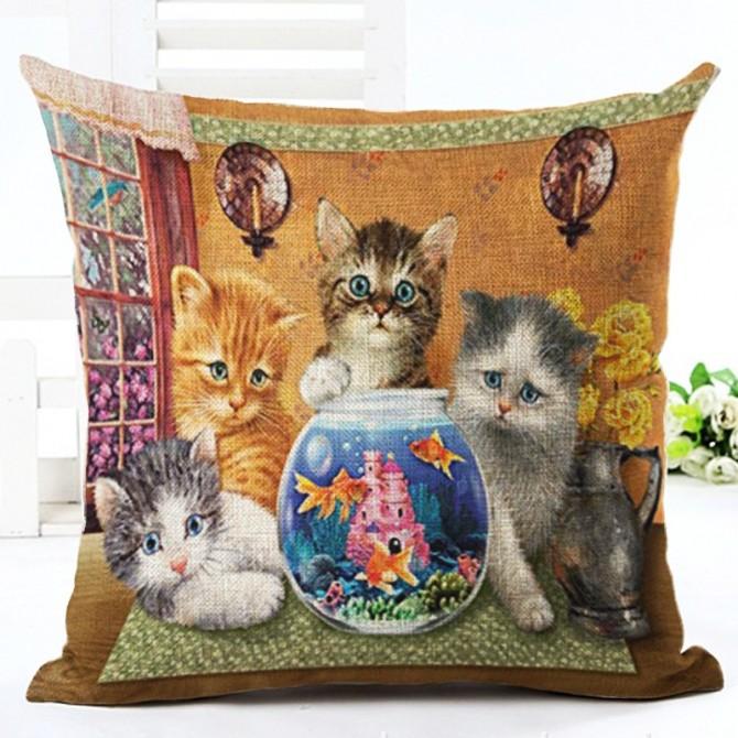 Kitten & Fish Cushion Cover