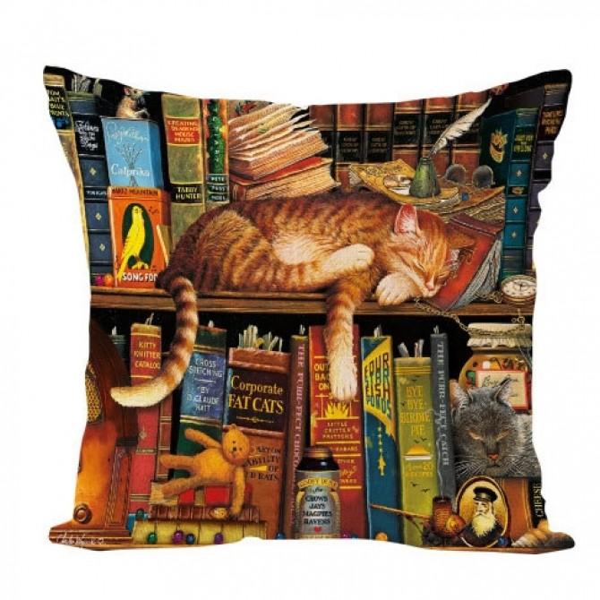 Cat on Book Shelf Cushion Cover