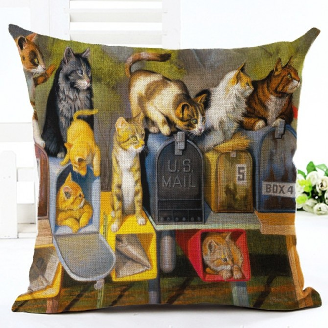 Cat & Mail Boxs Cushion Cover