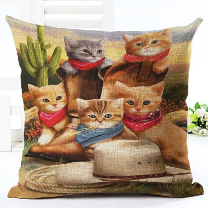 Cat Cactus Cushion Cover