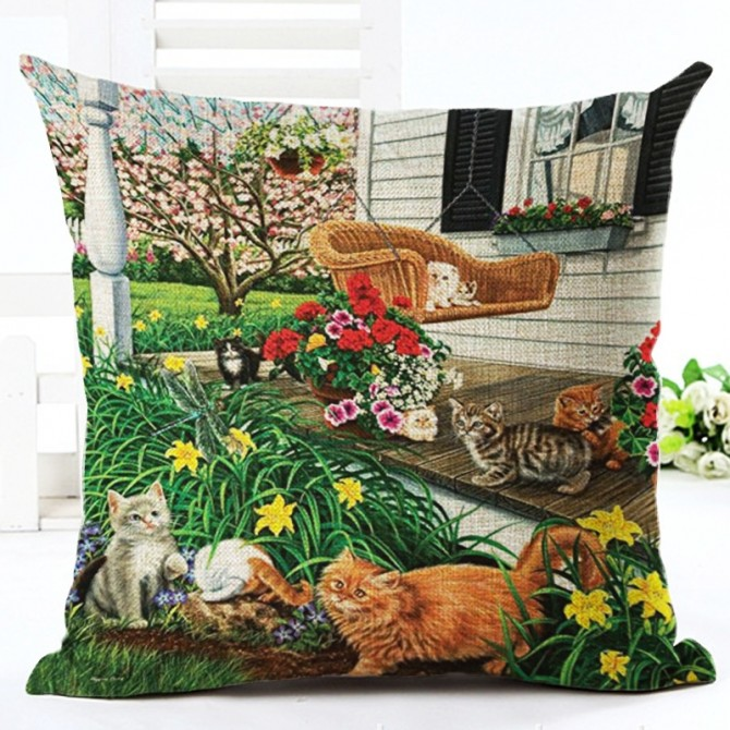 Cats on Porch Cushion Cover