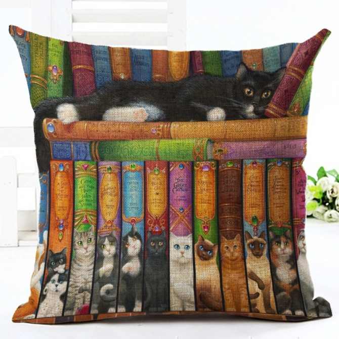 Cats with Books Cushion Cover