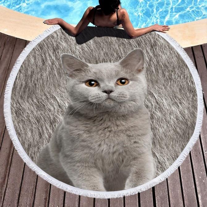 Cat Round Towel Picnic Beach Blanket Brown