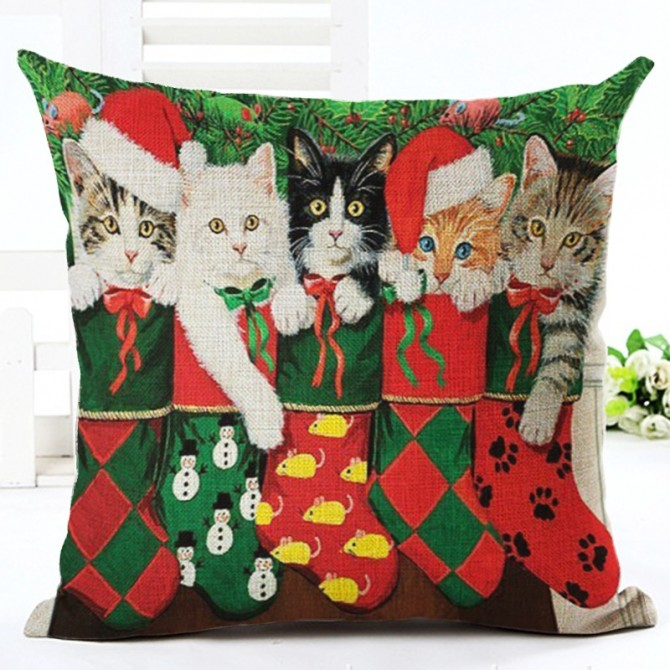 Cat & Stocking Cushion Cover