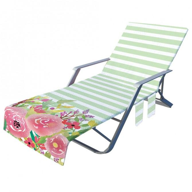 Fashion Rose Beach Chair Chaise Chair Patio Chair Cover