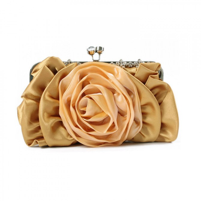 Blooming Rose Purse, Champagne