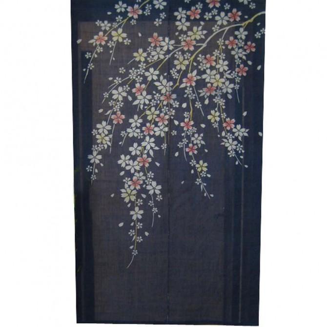 Cherry Blossom Blue Noren Door Curtain