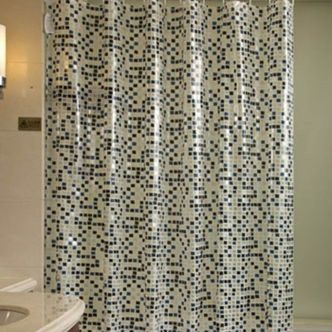 City Block Shower Curtain, Deep Blue