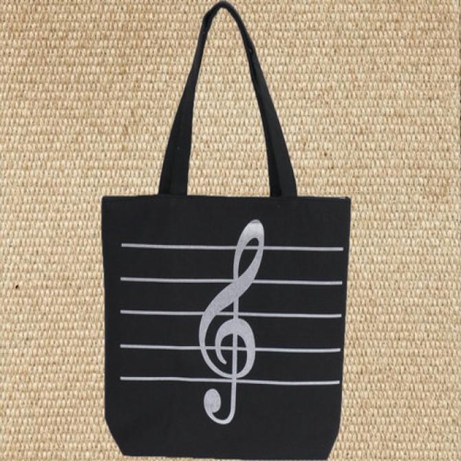 Black Treble Clef Music Bag