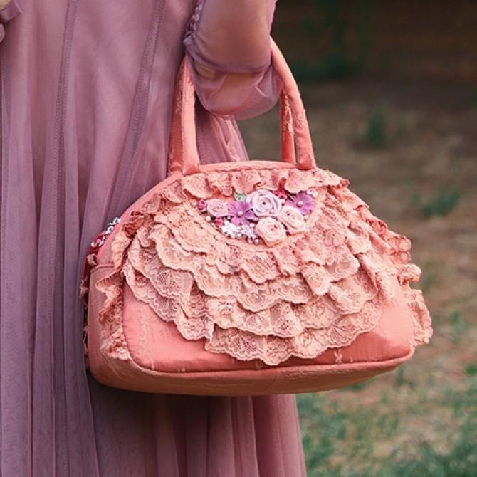 Coral Lace Ruffled Bag