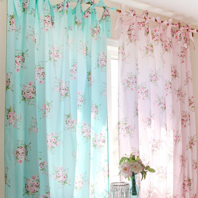 Long Mermaid Ruffle Rose Curtain Panel Set (pair)
