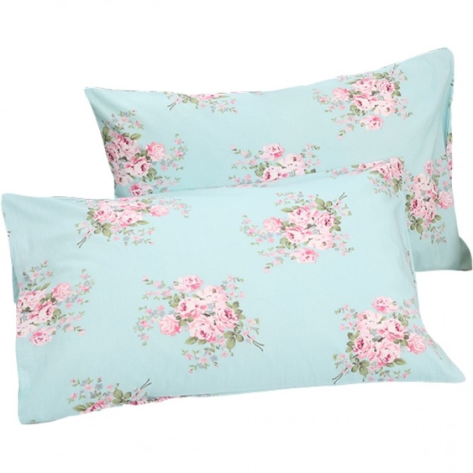 Aqua Blue Shabby Rose Pillow Sham ( pair)