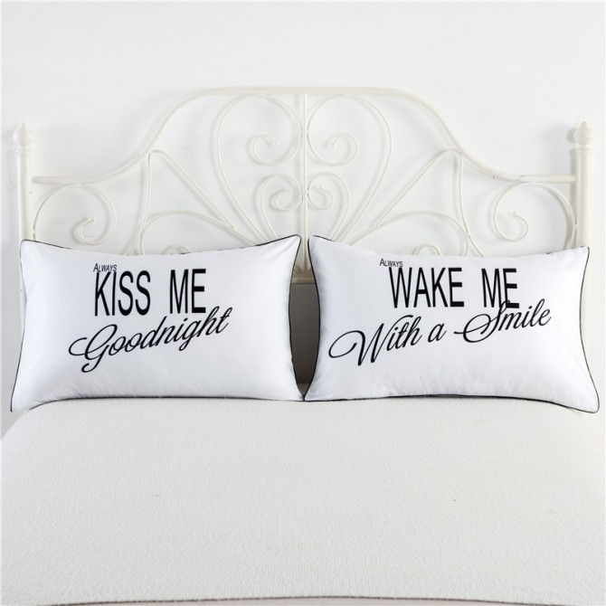 Kiss Me Wake Me Pillowcase (1 pair)