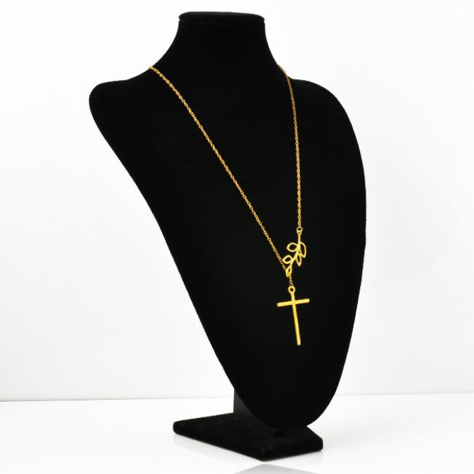 Cross Tree Branch Leaves Necklace