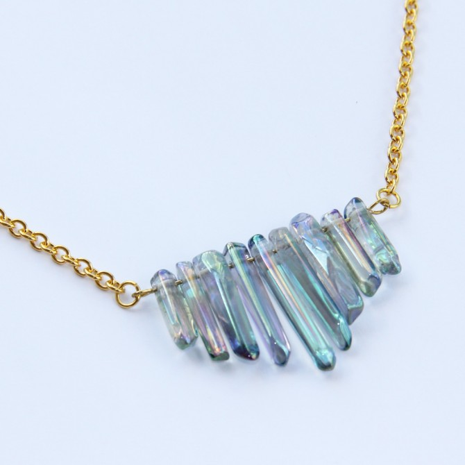 Iridescent Crystal Choker Necklace, Gold Chain