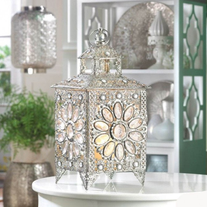 Faceted Crown Jewels Candle Lantern Centerpiece