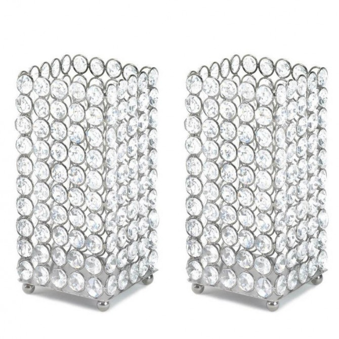 Set of 2 Silver Shimmer Square Faceted Glass Crystals Pillar Candle Holders