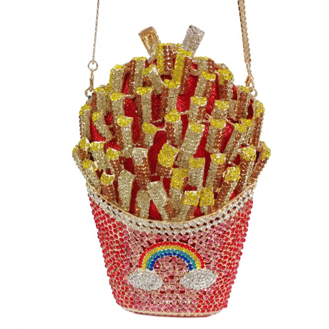 Fancy French Fries Sparkle Crystal Clutch Evening Bag Kitsch Novelty Rainbow Minaudiere