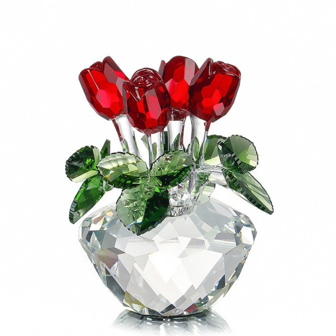 Crystal Roses Faced Flower Vase Romantic Gift